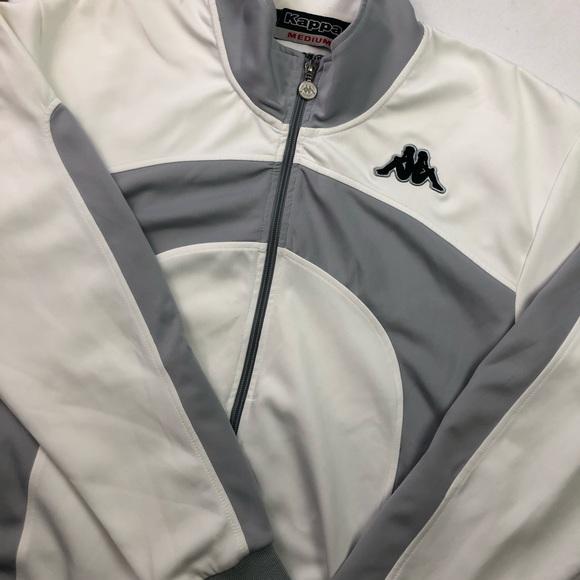 Kappa white grey zip up sport jacket SzM